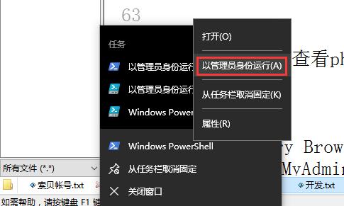 以管理员身份运行 Windows PowerShell