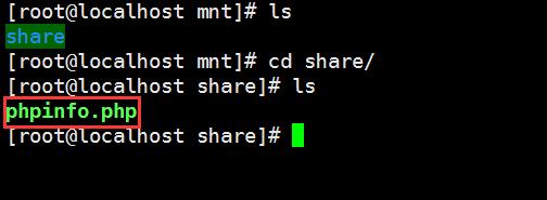 查看 /mnt/share ,已经存在 phpinfo.php 文件,共享成功