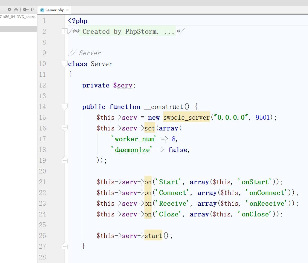 搭建Echo服务器,创建一个Server.php文件并输入如下内容: