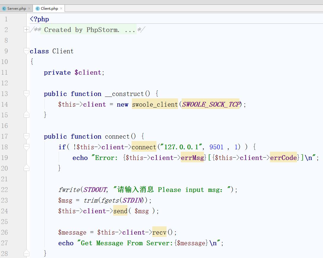 创建一个Client.php文件并输入如下内容: