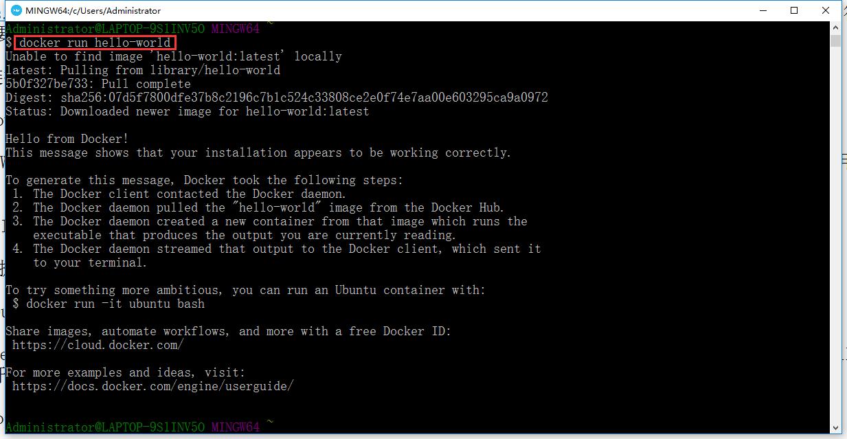 键入 docker run hello-world 命令并按回车。如果一切顺利,命令的输出如下所示: