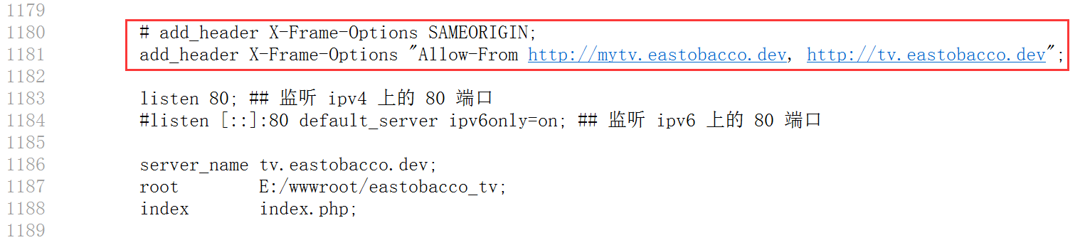 重新设置响应头:X-Frame-Options: frame-ancestors http://mytv.eastobacco.dev, http://tv.eastobacco.dev