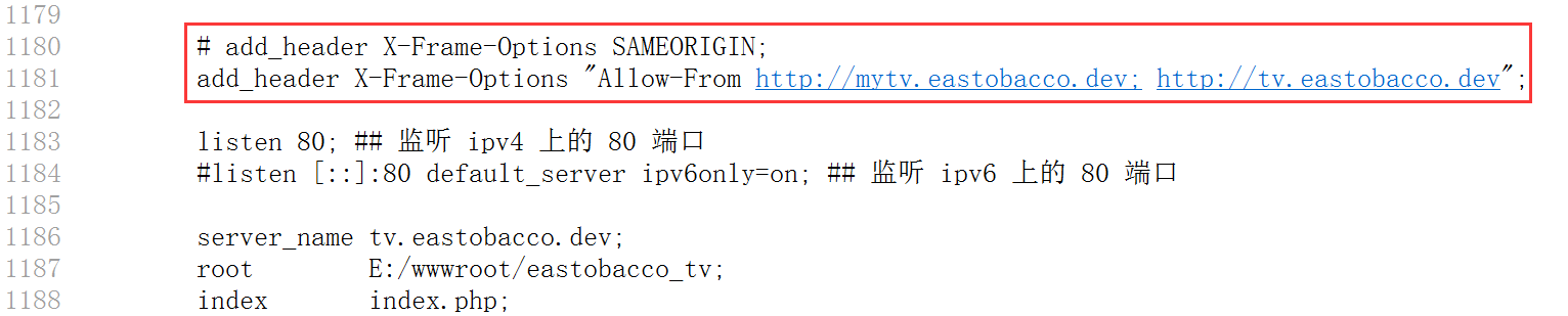 重新设置响应头:X-Frame-Options: frame-ancestors http://mytv.eastobacco.dev; http://tv.eastobacco.dev