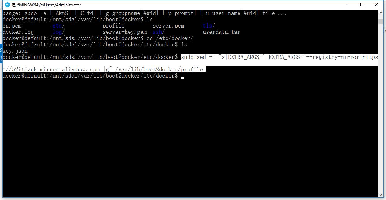 修改/var/lib/boot2docker/profile文件,将--registry-mirror=<your accelerate address>添加到EXTRA_ARGS中