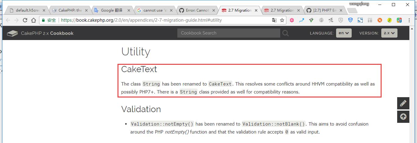 String 是PHP 7.x中的保留名称,因此Cake中的String类不能在PHP 7.x上使用,升级到最新的2.x,并改用CakeText