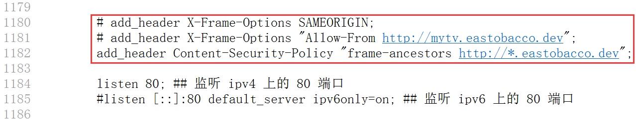 参考网址:https://developer.mozilla.org/zh-CN/docs/Web/HTTP/Headers/Content-Security-Policy__by_cnvoid ,重新设置响应头:Content-Security-Policy: frame-ancestors http://*.eastobacco.dev