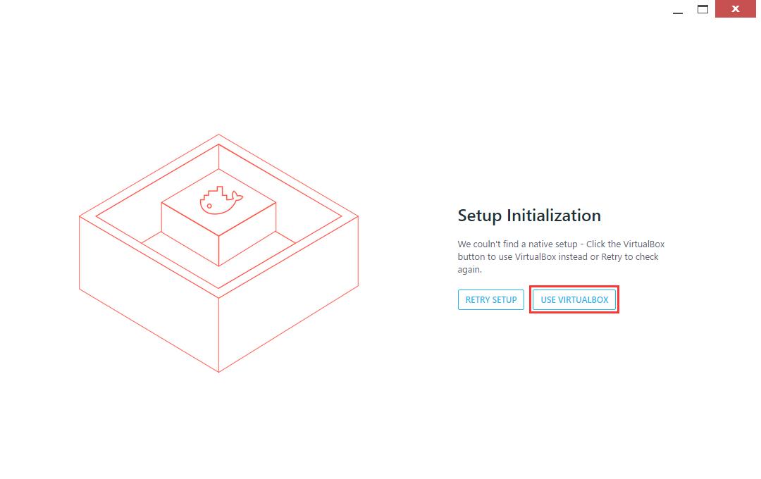 打开 Kitematic (Alpha),点击 use virtualbox