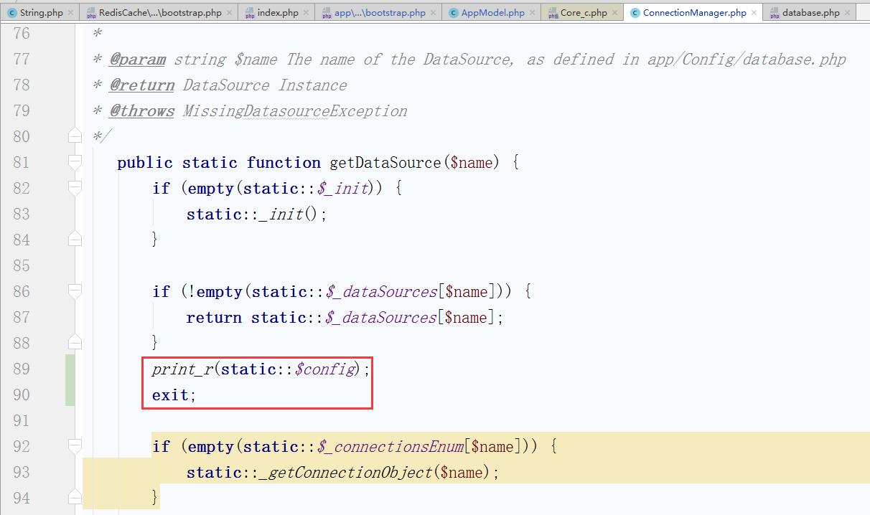 在 \lib\Cake\Model\ConnectionManager.php的getDataSource方法打印static::$config