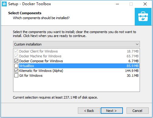 开始安装,出现选择组件提示框时,取消选中VirtualBox,其他步骤,接受所有的默认选项就是