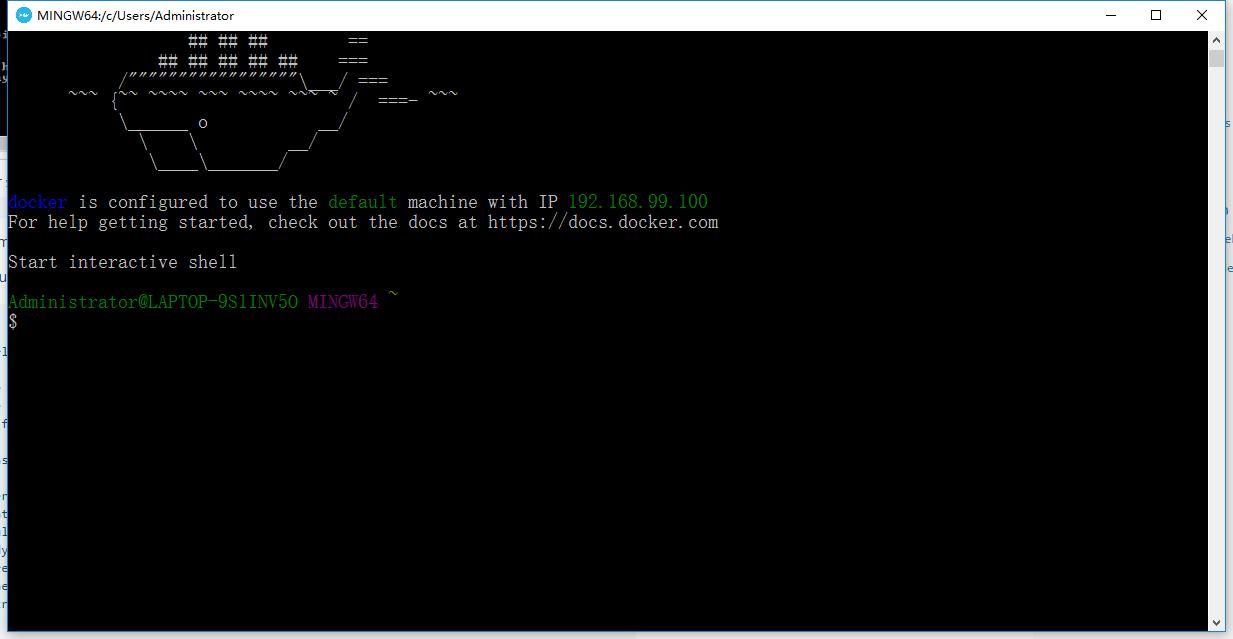 验证您的安装,双击Docker QuickStart图标启动预配置的Docker Toolbox终端。如果系统显示用户帐户控制提示,允许VirtualBox更改您的计算机,选择是,开始初始化,完成后,终端显示$提示符