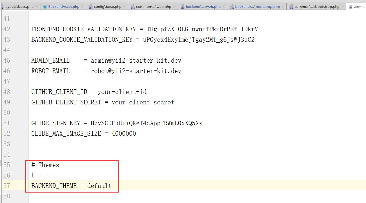 在 .env 中设置主题名称:default