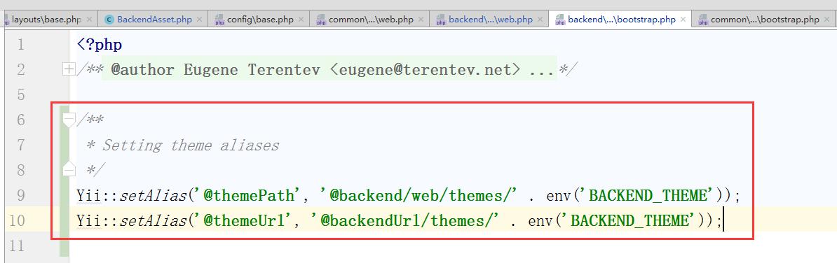 设置主题相关别名,编辑:\backend\config\bootstrap.php,定义别名