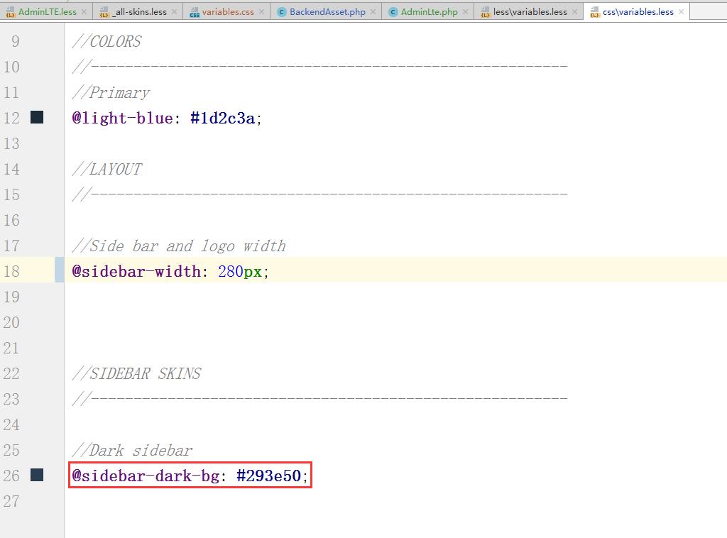 将 @sidebar-dark-bg: #222d32; 复制至 \backend\web\themes\default\css\variables.less,调整为:@sidebar-dark-bg: #293e50;,其他几个变量类似地调整