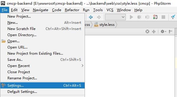 全局安装Less编译器,在PhpStorm中运行NPM,选择File,打开Settings