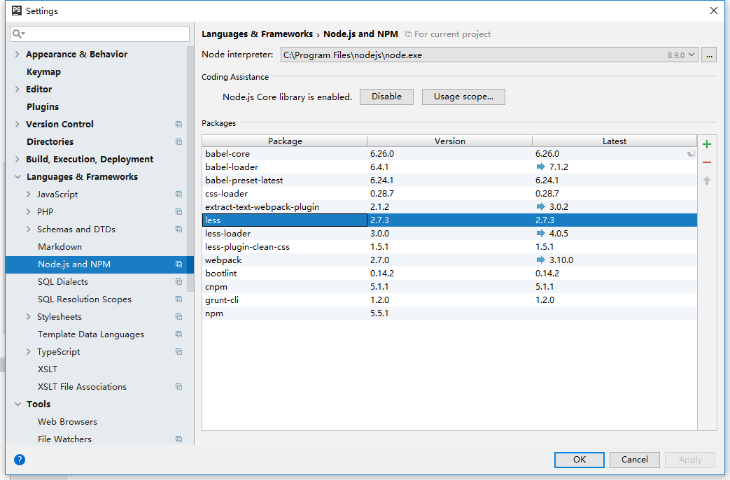 """在""""语言和框架""""下单击Node.js和NPM,在打开的Node.js和NPM页面上,Packages区域显示当前在您的计算机上安装的所有Node.js相关软件包,无论是在全局还是在项目级别。less已安装"""