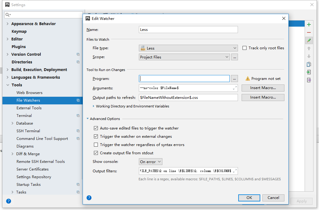 """单击""""工具""""节点下的""""文件观察者""""。打开的File Watchers页面显示项目中已经配置的File Watcher列表。"""