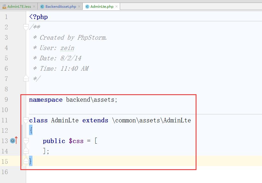 新建:\backend\assets\AdminLte.php,继承至 \common\assets\AdminLte,设置$css为空数组,因为需要设置less变量,重新生成对应的CSS文件,所以默认的CSS文件需要去掉
