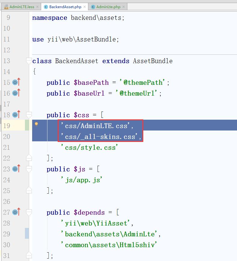 编辑:\backend\assets\BackendAsset.php,调整该资源包CSS文件的数组