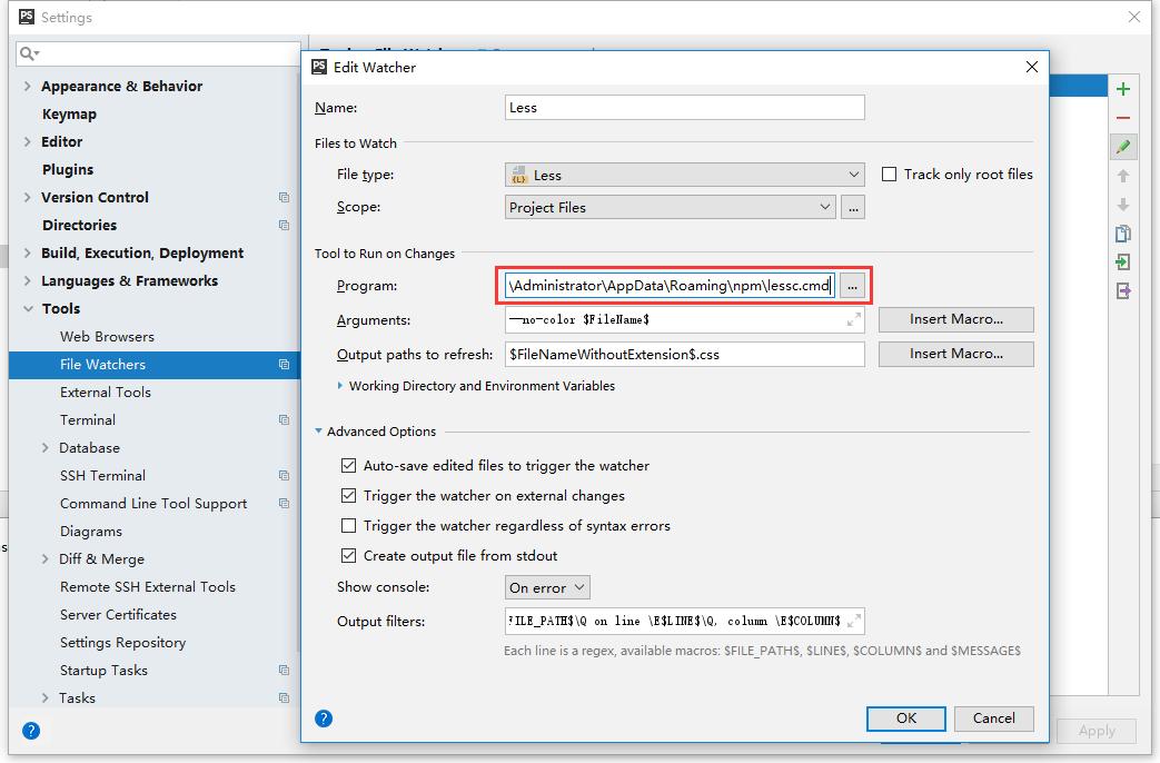 重复第5步骤,指定程序文件夹:C:\Users\Administrator\AppData\Roaming\npm\lessc.cmd