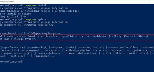 执行:composer update 时,提示:No valid bower.json was found in any branch or tag of https://github.com/blueimp/JavaScript-Canvas-to-Blob.git, cou ld not load a package from it.