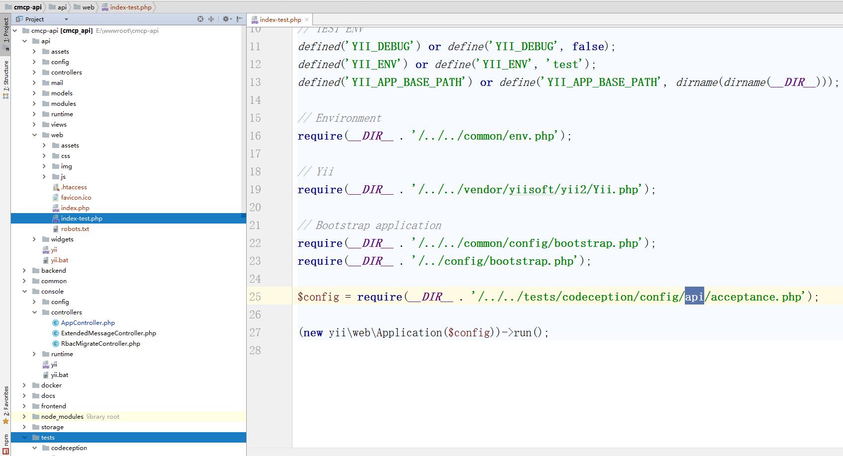 在 \tests 目录中,还有相应的与新增接口应用相关的配置,此部分暂缓一下,到需要进行自动化测试的时候,再来进行配置了。查看 \api\web\index-test.php