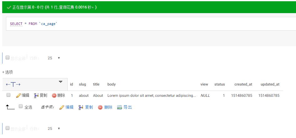 基于数据库表 ca_page 建立相应模型