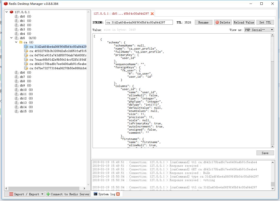 运行后台应用后,查看 Redis 中的数据,数据表的结构已经被缓存了