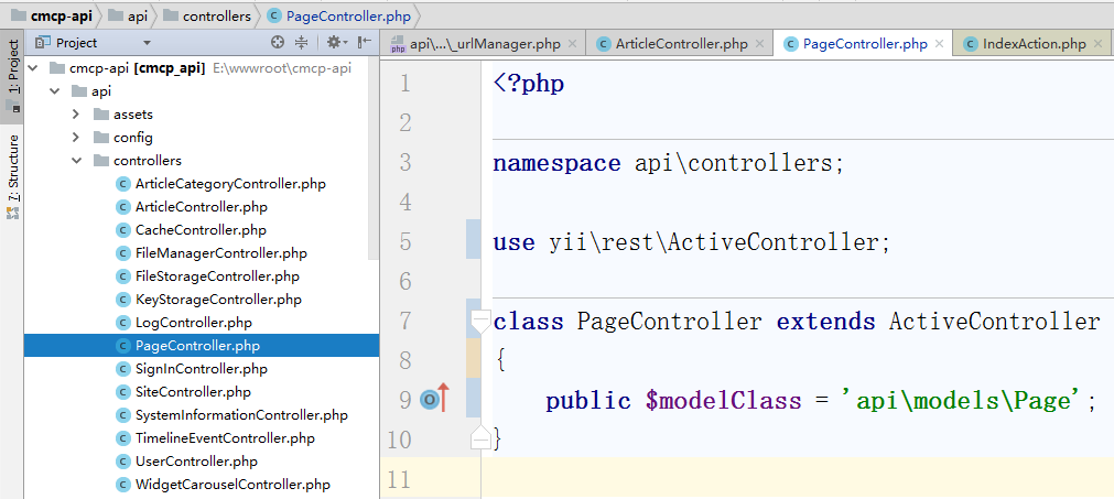 编辑控制器类 \api\controllers\PageController.php ,控制器类扩展自 [[yii\rest\ActiveController]]。 通过指定 [[yii\rest\ActiveController::modelClass|modelClass]] 作为 api\models\Page, 控制器就能知道使用哪个模型去获取和处理数据。