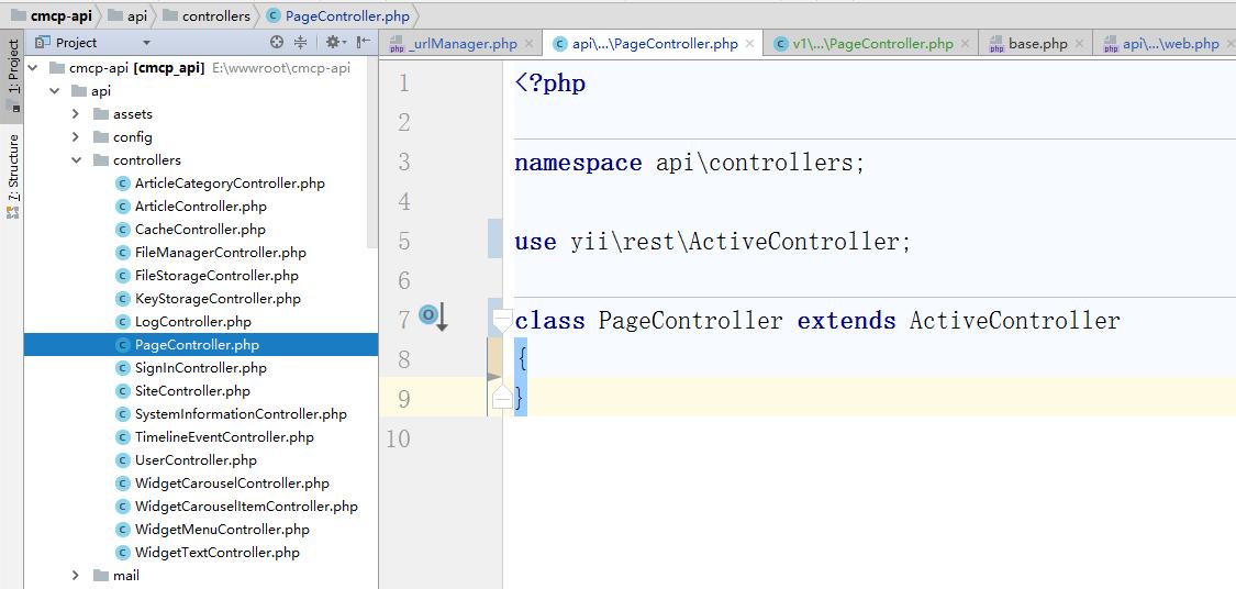 版本化的实现,参考网址:https://github.com/yiisoft/yii2/blob/master/docs/guide-zh-CN/rest-versioning.md ,编辑 \api\controllers\PageController.php,删除 modelClass