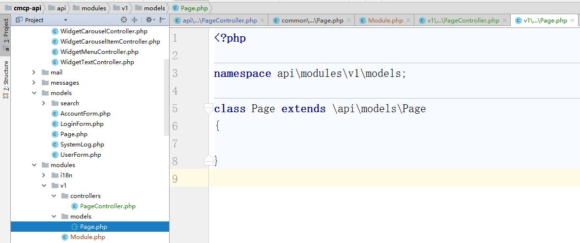 新建 \api\modules\v1\models\Page.php,继承至 \api\models\Page.php