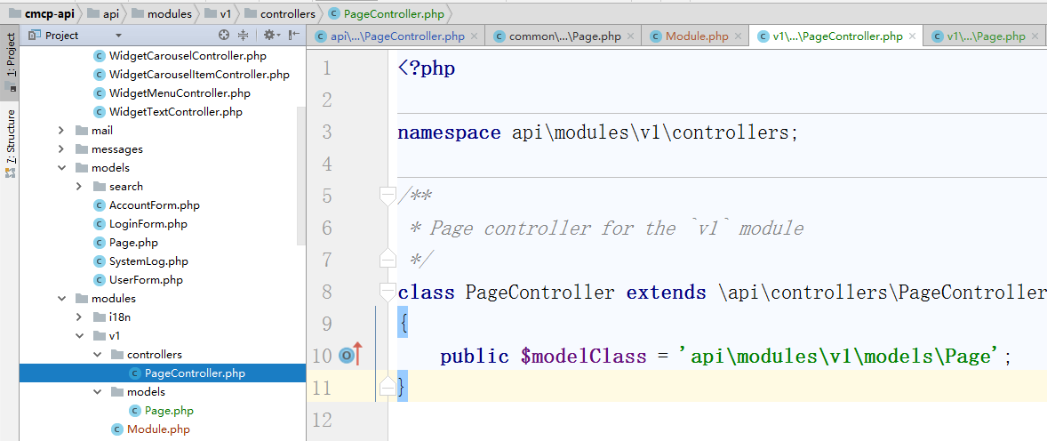 \api\modules\v1\controllers\DefaultController.php 重命名为 \api\modules\v1\controllers\PageController.php,编辑代码