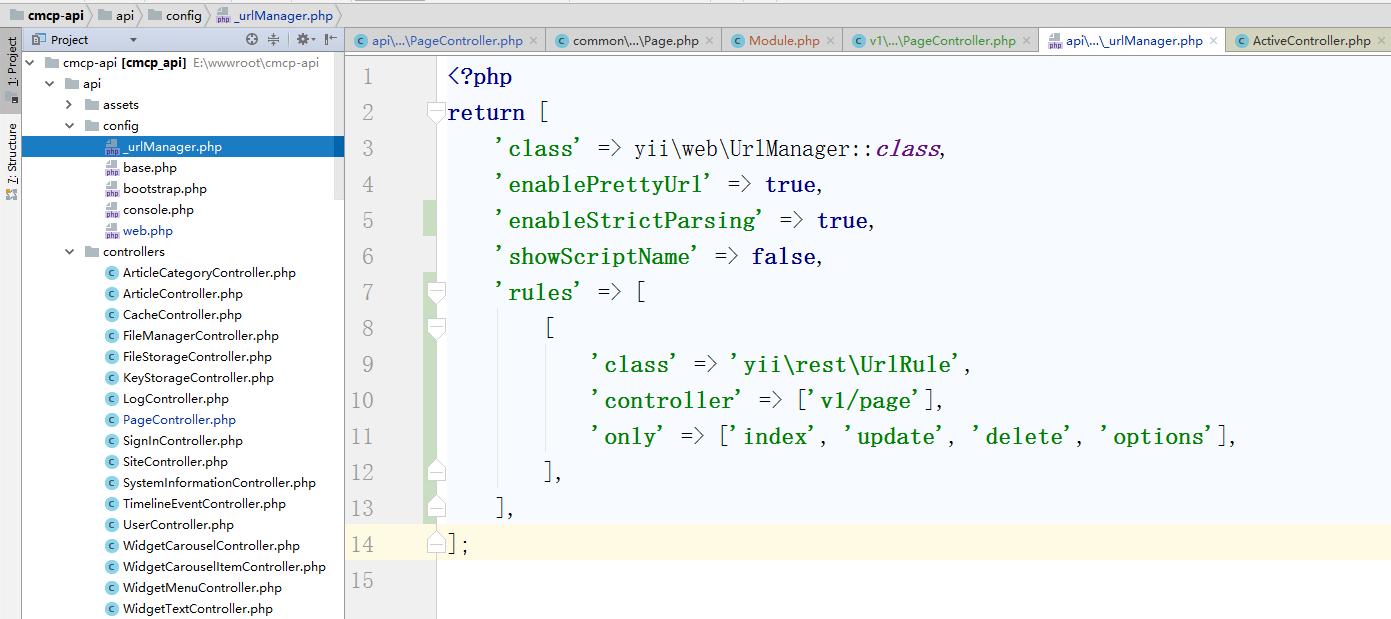 配置URL规则,修改有关在应用程序配置的urlManager组件的配置,以支持 v1 模块,编辑:\api\config\_urlManager.php