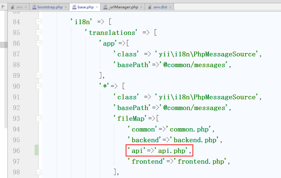 编辑 \common\config\base.php,配置接口应用的语言包文件