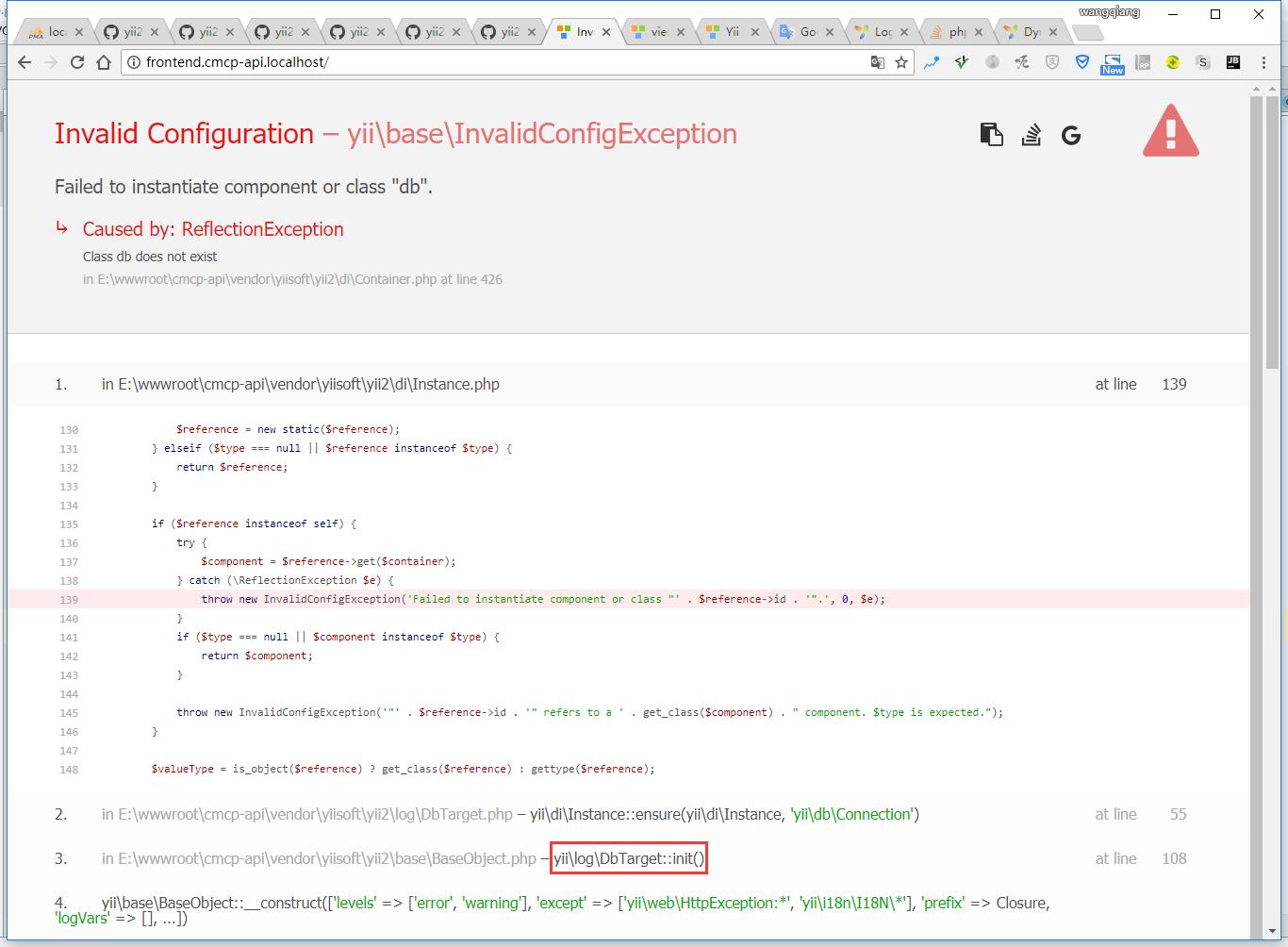 "打开:http://frontend.cmcp-api.localhost/ ,报错:Failed to instantiate component or class ""db"".,原因在于日志目标为数据库表"
