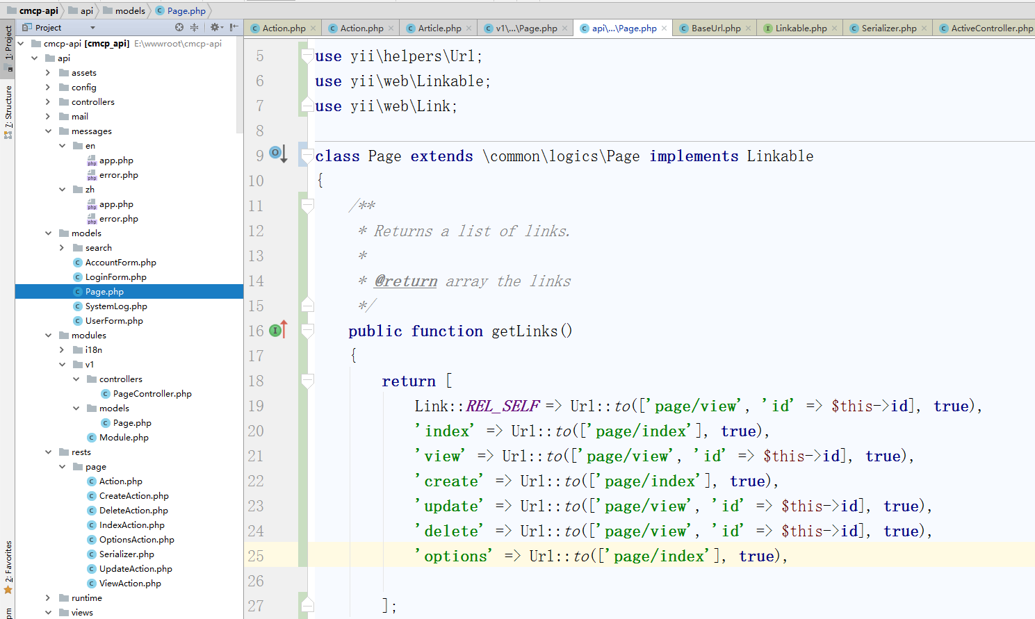 实现[[yii\web\Linkable]] 接口来支持HATEOAS,返回与本资源对象的相关链接,编辑资源类 \api\models\Page.php