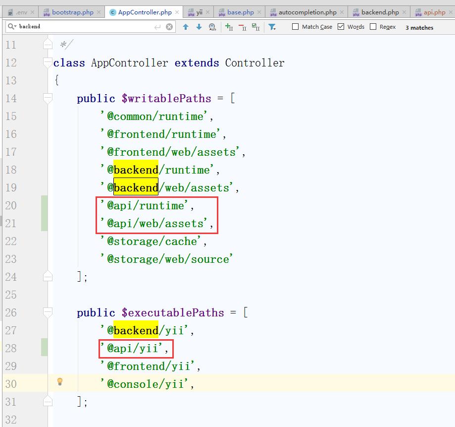 编辑 \console\controllers\AppController.php,搜索此文件有6处backend,则相应复制3份为api