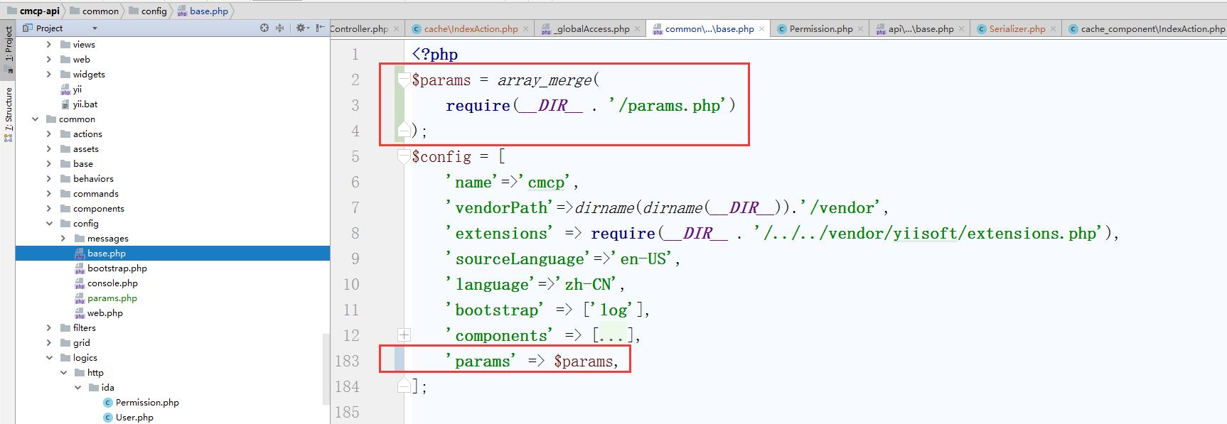编辑 \common\config\base.php,引入参数配置文件