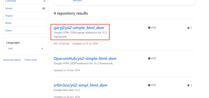 在 github 上搜索:yii2 html dom,最终选择:garyjl/yii2-simple_html_dom