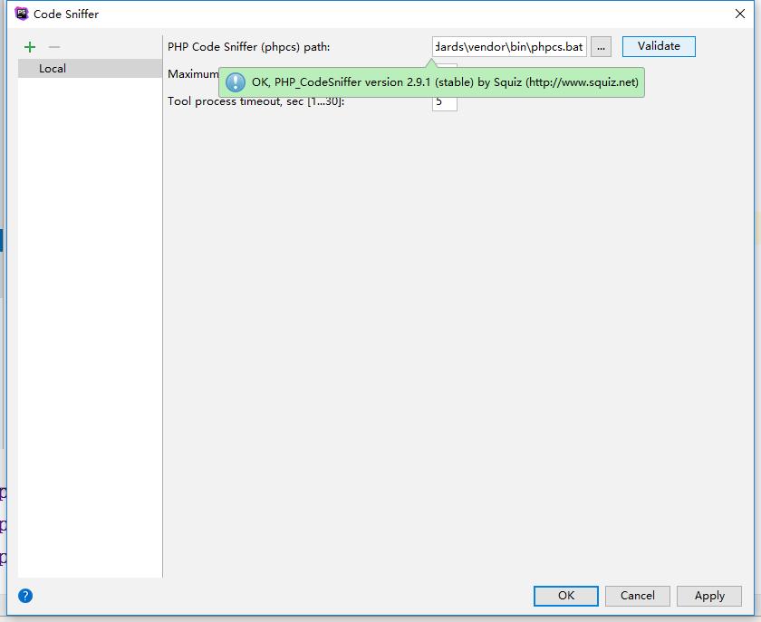 单击 Validate 按钮,如果验证通过成功,PhpStorm 将显示检测到的代码嗅探器版本信息