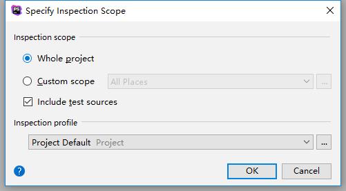 在批处理模式下运行代码嗅探器,Code | Inspect code → Inspection scope: Whole project