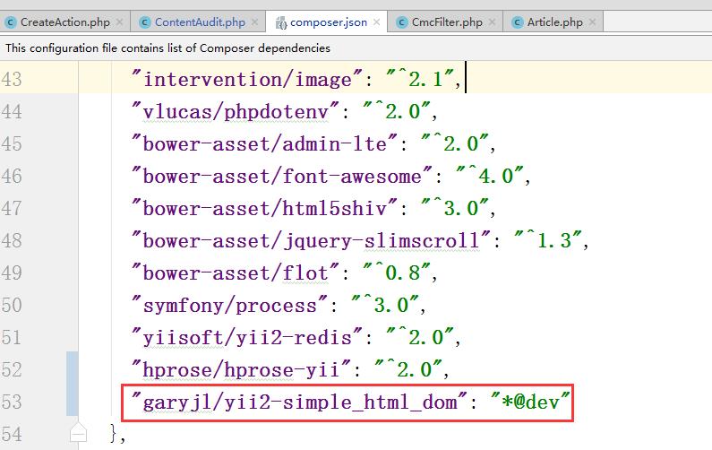 "编辑 composer.json,新增:""garyjl/yii2-simple_html_dom"": ""*@dev"",设置支持稳定性标签 @dev"