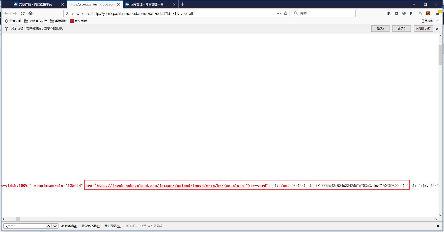 查看源代码,src 属性的值被标红