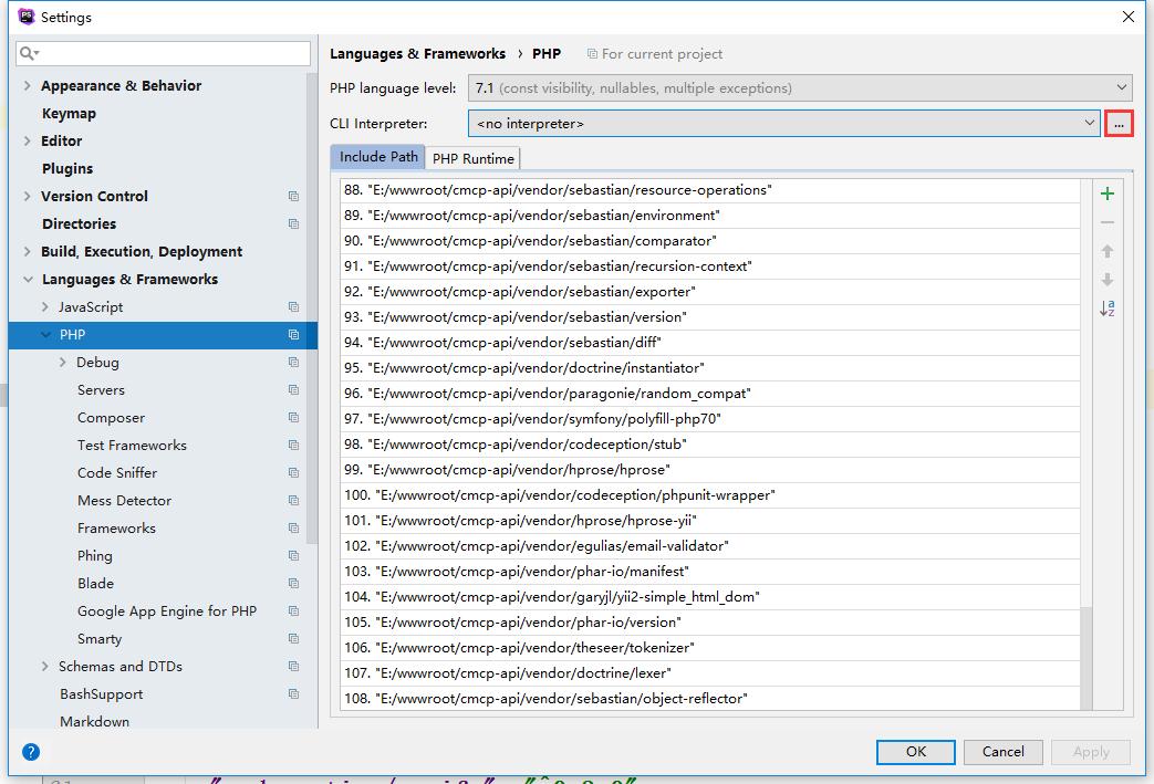 配置本地PHP解释器,File | Settings → Languages & Frameworks → PHP → CLI Interpreter 下拉列表旁边的按钮