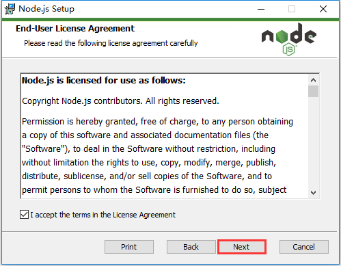 Node.js Setup,勾选 I accept the terms in the license Agreement,点击 Next 按钮