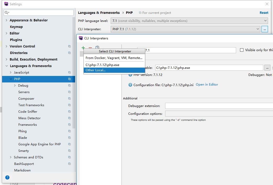 CLI Interpreters → Add → Other Local。如果您已经在 PhpStorm 中配置了本地解释器,则它也会显示在菜单上,并且菜单项将更改为 Other Local