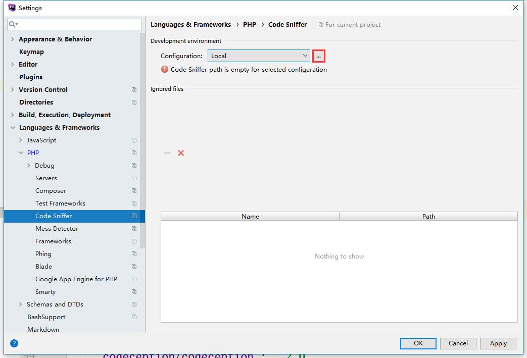 选择使用的代码嗅探器脚本,File | Settings → Languages & Frameworks → PHP → Code Sniffer → Configuration: Local下拉列表旁边的按钮
