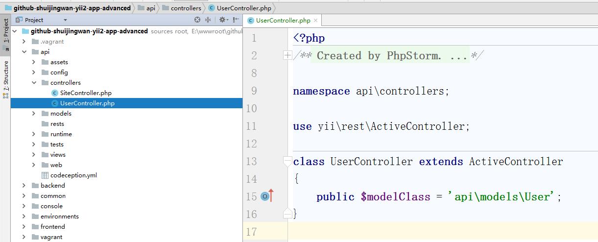 新建控制器类 \api\controllers\UserController.php ,控制器类扩展自 [[yii\rest\ActiveController]]。数据序列化的实现,在响应主体内包含分页信息来简化客户端的开发工作