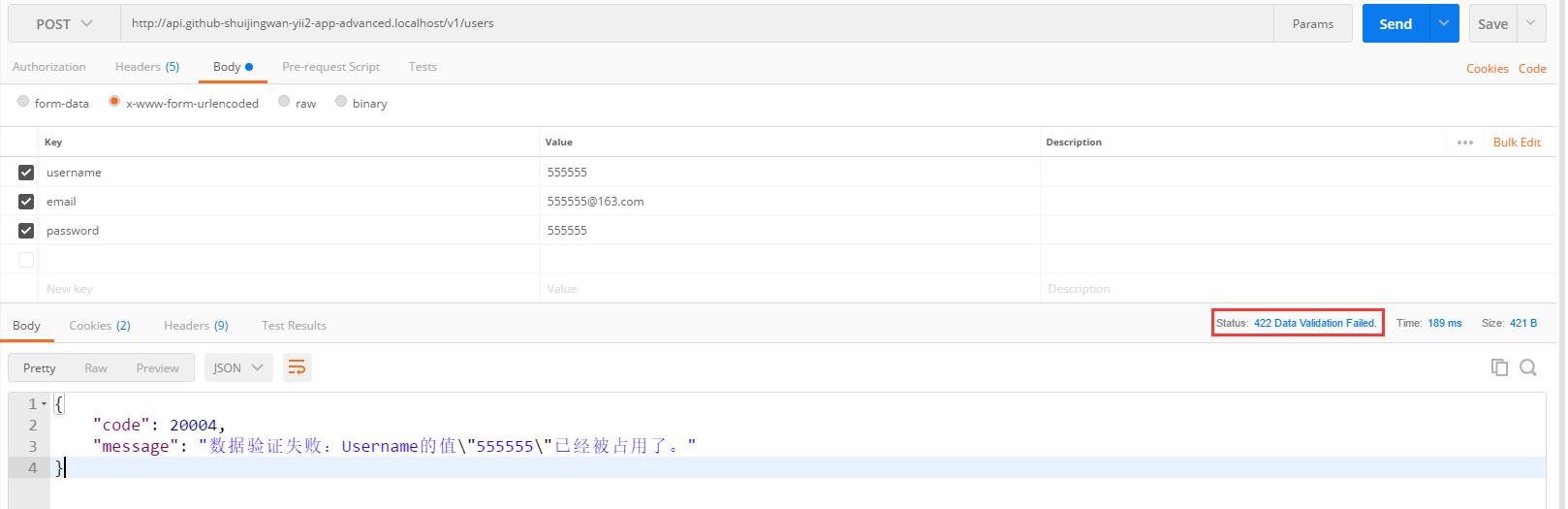 在 Postman 中,POST http://api.github-shuijingwan-yii2-app-advanced.localhost/v1/users ,参数保持原样,422响应