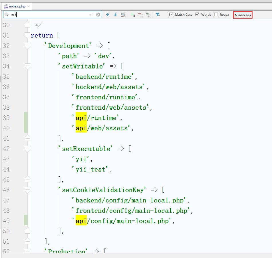 编辑environments/index.php,搜索此文件有6处frontend,则相应复制6份,替换为api