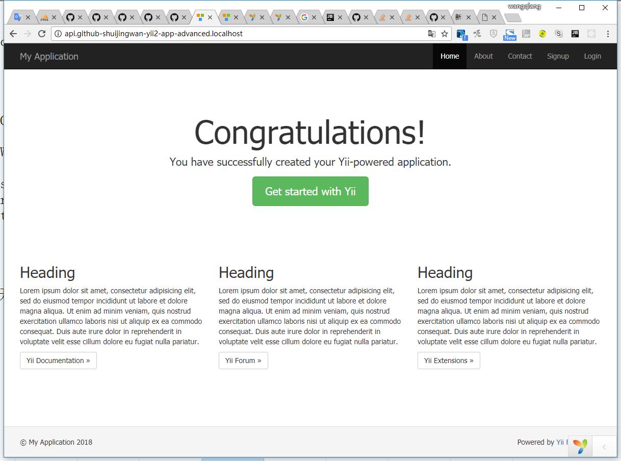 打开:http://api.github-shuijingwan-yii2-app-advanced.localhost/ ,符合预期